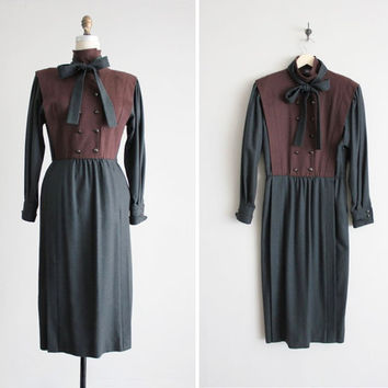 vintage Emanuel Ungaro dress / color block dress / military wool dress