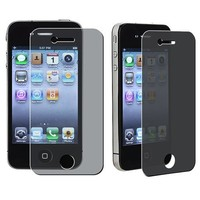 3x Anti-Spy Privacy Screen Protector Compatible with iPhone 4 4G iPhone 4S - AT&T, Sprint, Version 16GB 32GB 64GB