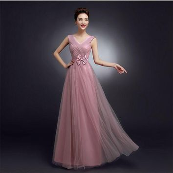 SJZL80SJ#Shoulders bowknot cameo brown gauze new spring 2017 long bridesmaid dresses bride wedding bridesmaids dress prom gown