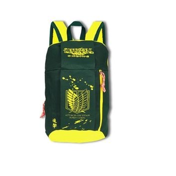 Cool Attack on Titan New Anime Light weight  Survey Corps Green Yellow Backpack School Shoulder Book Bag Boys Girls Gift Travel AT_90_11