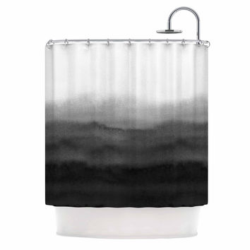 "Draper ""Ombre Ink Wash"" Gray Black Shower Curtain"
