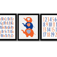 Elephant Wall Art, Set of 3, Alphabet Letters, Numbers Art, Boys Room, Nursery Decor, Kids Wall Art, Orange and Blue, INSTANT DOWNLOAD