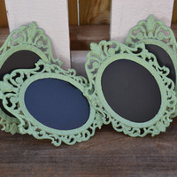 Mint Green Chalkboard frames ornate small frames wedding decor wedding table number frames mint greenl wedding