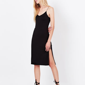 Fitted Stretchy Sleeveless Bodycon Midi Slip Dress with High Slit