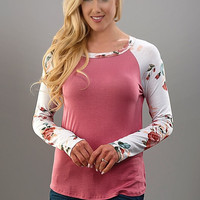 Floral Sleeve Baseball Tee - Dusty Pink
