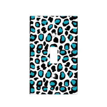Turquoise Teal Blue Leopard Animal Print Light Switch Cover