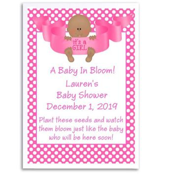 8 Its A Girl Baby Shower Seed Favors Dark Skin