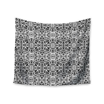 "Mydeas ""Fancy Damask Black & White"" Gray Wall Tapestry"