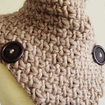 Bulky Knit Neck Warmer Oatmeal Light Brown