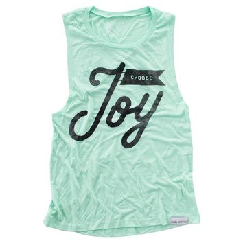 Choose Joy Mint Women's Muscle Tank