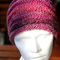 2 in 1 Loop cowl and headband - handknit infinity snood, frontlet in purple and pink, from New Zealand Wool, holiday gift for her