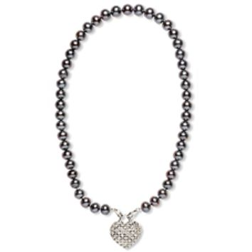 Sophia Marie I Heart You Faux Diamond Pendant & Violet Pearl Necklace