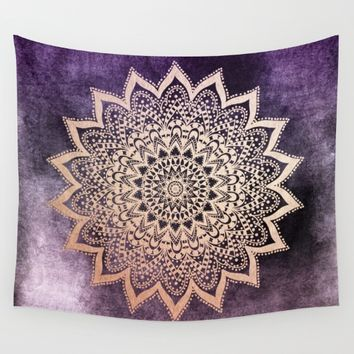 GOLD NIGHTS MANDALA IN PURPLE Wall Tapestry by Nika