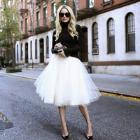 Chiffon Tulle Fluffy High Waist Skirt