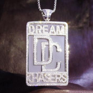 Men's Custom Dream Chasers Iced Out Dog Tag Pendant Chain