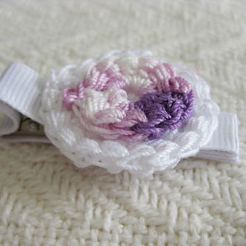 Crochet Hair Clip Lavender and White Boullion Flower on White Ribbon Clip