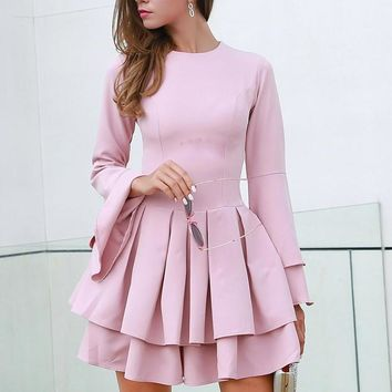 Autumn And Winter Sexy O Neck Long Sleeve Ruffles Women Casual Elegant Dress