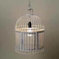 Kids Lighting: White Birdcage Pendant Light in Ceiling Fixtures | The Land of Nod