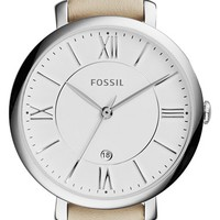 Women's Fossil 'Jacqueline' Round Leather Strap Watch, 36mm - White/ Silver