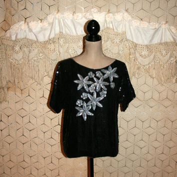 Black Silk Blouse Sequin Blouse Dressy Blouse Cocktail Blouse Oversize Blouse Blouson Dolman Sleeve Sparkly Blouse Medium Womens Clothing