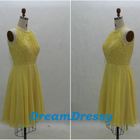 Unique short yellow princess bridesmaid dress/party dress, princess scoop lace  sash dress, cheap dress 8068