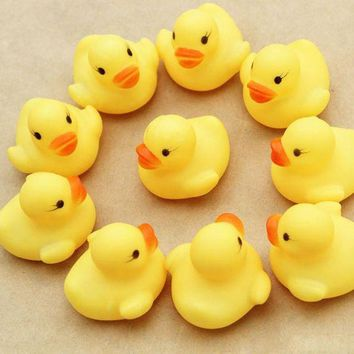 DCCKU7Q Hot  Baby toy Cute Small One Dozen (12) Bath toys shower water floating squeaky yellow rubber ducks baby toys water toys