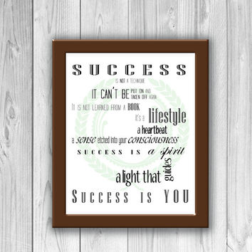 Success 1 // Original Typography 8x10 Print for Home, Dorm, or Office Decor and Gifts