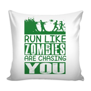 Funny Running Graphic Pillow Cover Run Like Zombies Are Chasing You