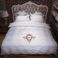 Luxury Long-Staple Cotton Embroidery Satin Jacquard Bedding Set Duvet Cover Bed Linen Bed sheet Pillowcases King Queen 4/6pcs