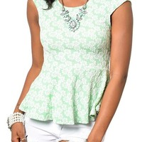 DHStyles Women's Girly Flirty Floral Print Knit Peplum Top-Small - Mint,White