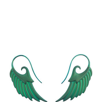 Fly Me To The Moon Wing Green Earrings