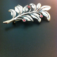 Stunning sterling silver and garnet brooch-Olive branch  silver brooch-Artisan jewelry-Gemstone pin-Vintage pin-Greek art