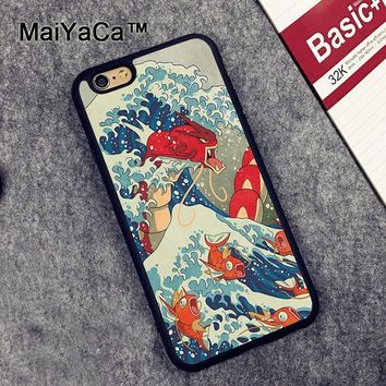 MaiYaCa Great Wave off Kanto s Print Soft Rubber Mobile Phone Case For iPhone 6 6S 7 8 Plus 5 5S SE X Back Cover ShellKawaii Pokemon go  AT_89_9