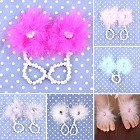 1 Pair Foot Flower Barefoot Sandals Feather Flower Sandals Pearl Headband Set Hair Accessories for Baby Infants
