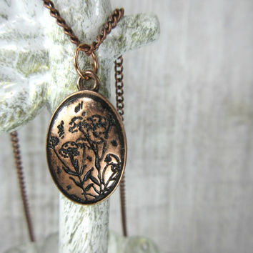 Etched Flower Necklace, Copper Flower Necklace, Petite Necklace