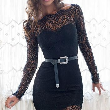 CUTE LACE LONG DRESS BACKLESS SEXY DRESS NO BELT