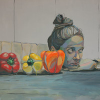 Still life ,giclee print of original acrylic painting,girl,peppers,contemporary art,abstract,fine art paper print