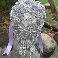 Deposit on a cascading lavender, orchid and pearl brooch wedding bouquet -- made to order  brooch wedding bouquet