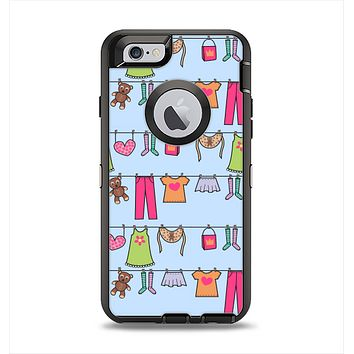The Neon Clothes Line Pattern Apple iPhone 6 Otterbox Defender Case Skin Set
