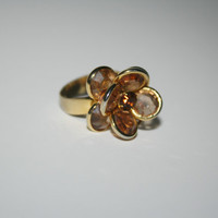 Adjustable Vintage gold tone Flower ring with brown stones FREE US SHIPPING