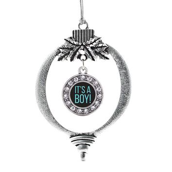 It's a Boy Circle Charm Holiday Ornament