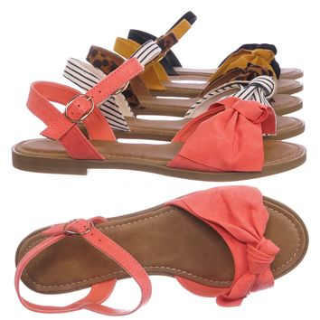 Hippie84 Ankle Strap Flat Sandal - Women Bow Ornamentation w Adjustable Strap