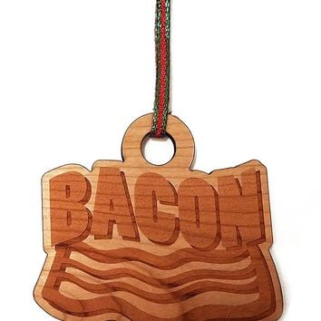 Bacon Laser Engraved Light Wooden Christmas Tree Ornament Gift Seasonal Decoration