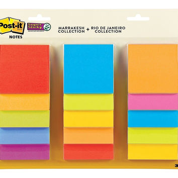 Post-it Super Sticky Notes 3 in x 3 in Assorted Colors 15 Pads/Pack 45 Sheets...
