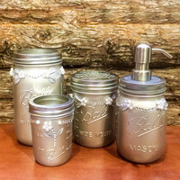 Silver Mason Jar Desk Set, Silver mason jar bathroom set, Silver Mason Jar desk organizer, Silver mason jar vanity set, mason jar decor