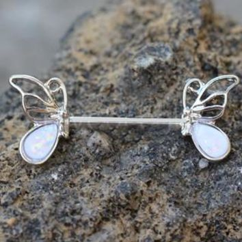 316L Stainless Steel Synthetic Opal Butterfly Nipple Bar