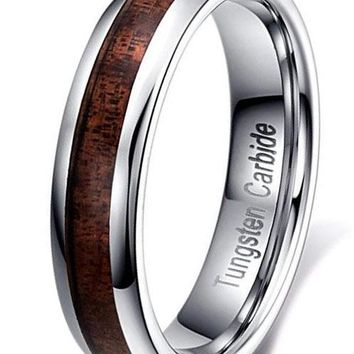 CERTIFIED 5MM Tungsten Carbide Wedding Engagement Band  with Koa Wood Inlay