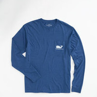 Heather Whale Long-Sleeve Graphic Pocket T-Shirt