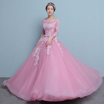 PotN'Patio Luxury Appliques Beading Ball Gown Floor-Length Long Sleeve Prom Dresses 2017 New Plus Size