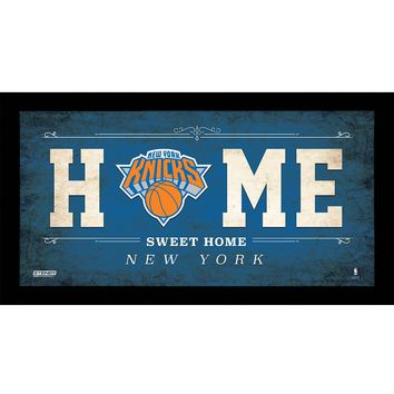 New York Knicks 10x20 Home Sweet Home Sign w Game Used Net